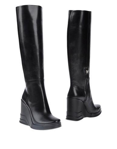 prada rubber wedge knee high boots black size uk 4 5 eu