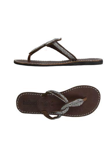 LAIDBACK LONDON Toe Strap Sandals in Dark Brown
