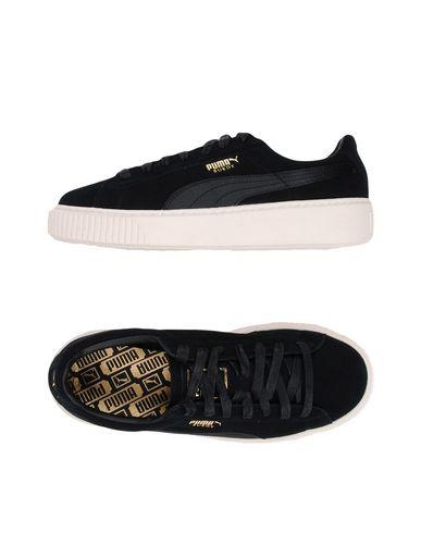 Basket Platform Suede Satin Sneakers, Black