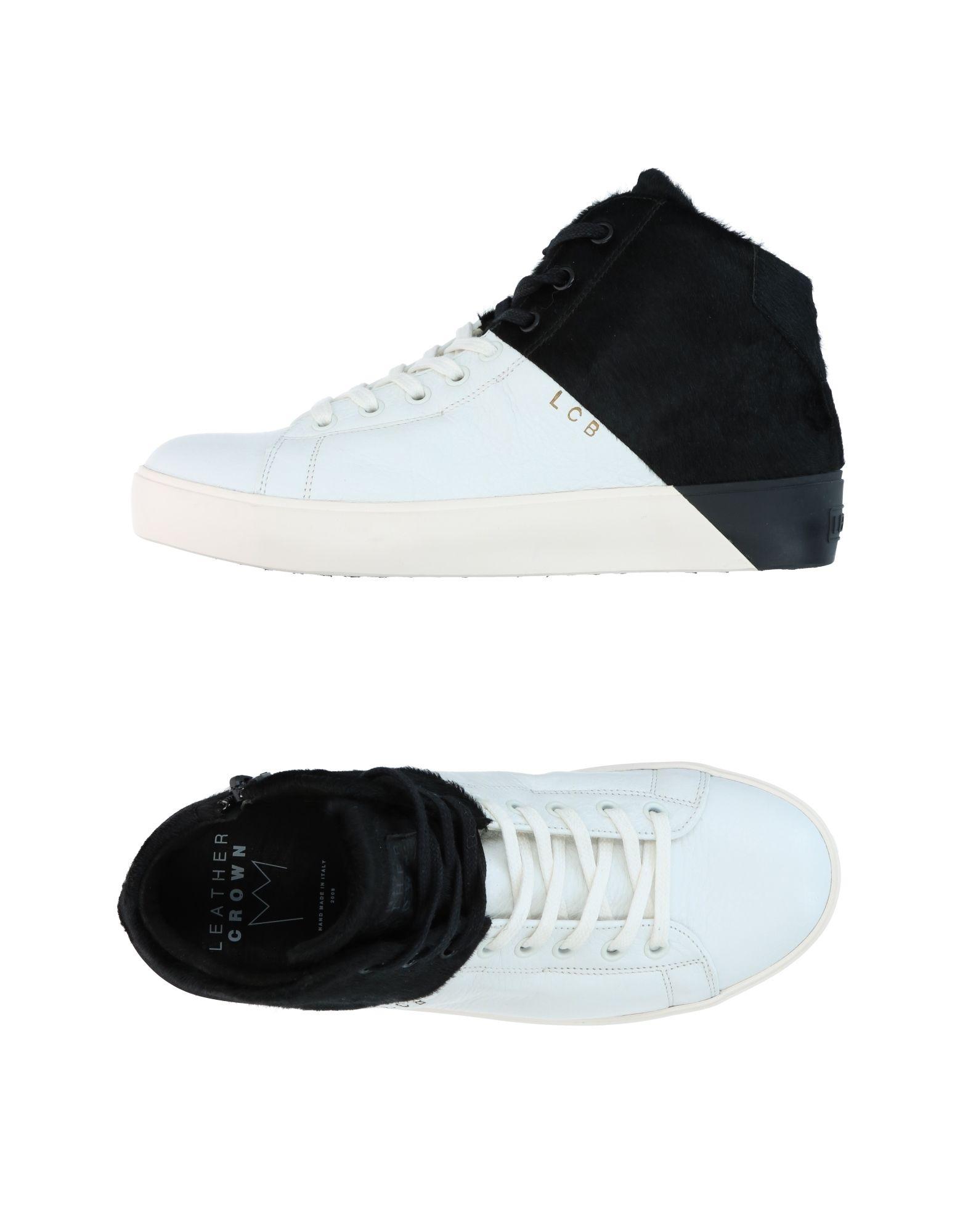 Baskets Mode Leather Crown Femme - Baskets Leather Crown Blanc Mode Baskets pas cher et belle 668817