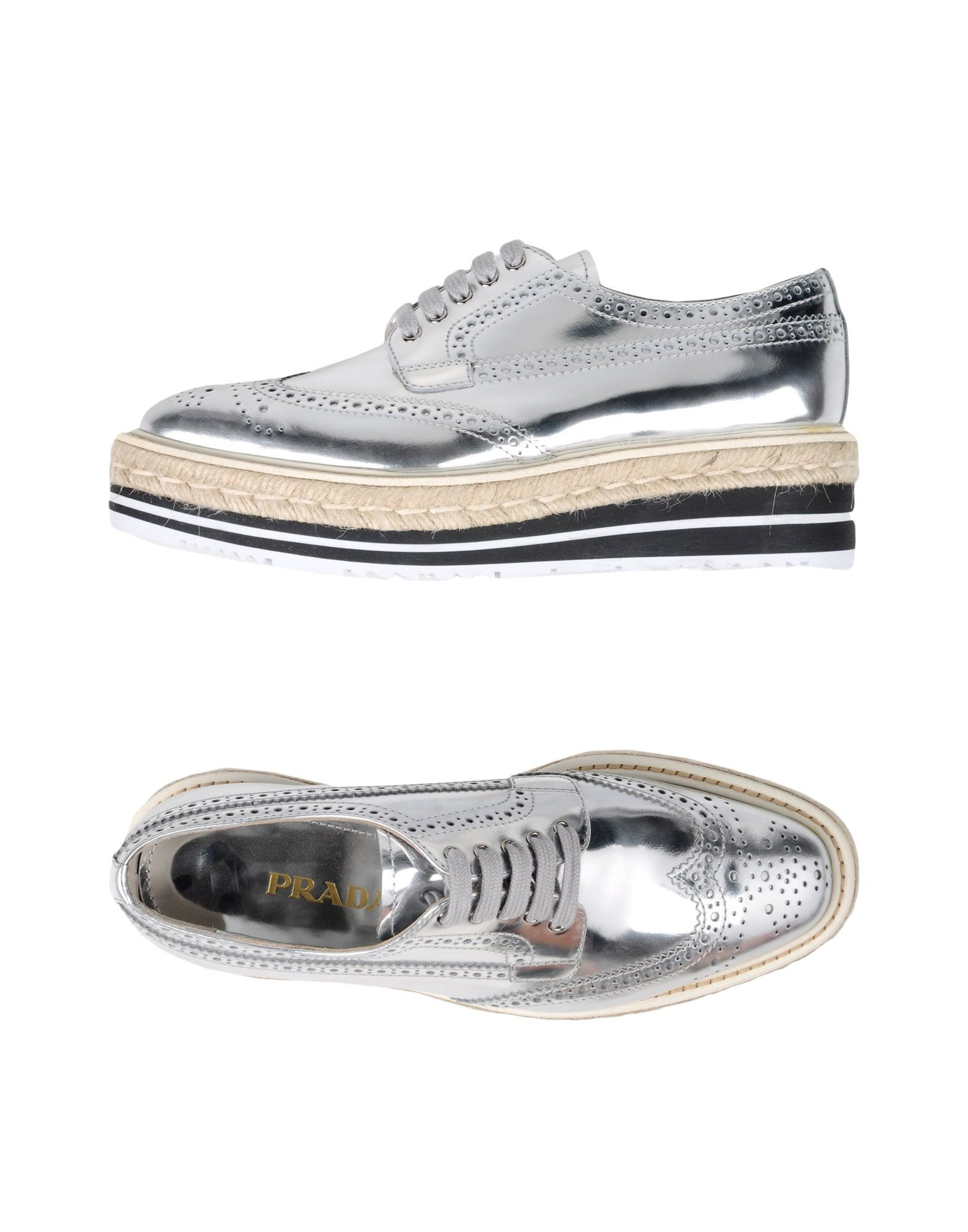 Gran descuento descuento Gran Zapato De Cordones Prada Mujer - Zapatos De Cordones Prada  Plata da5053