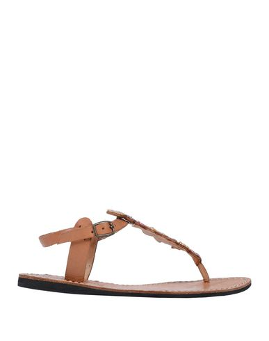 LAIDBACK LONDON Toe Strap Sandals in Tan