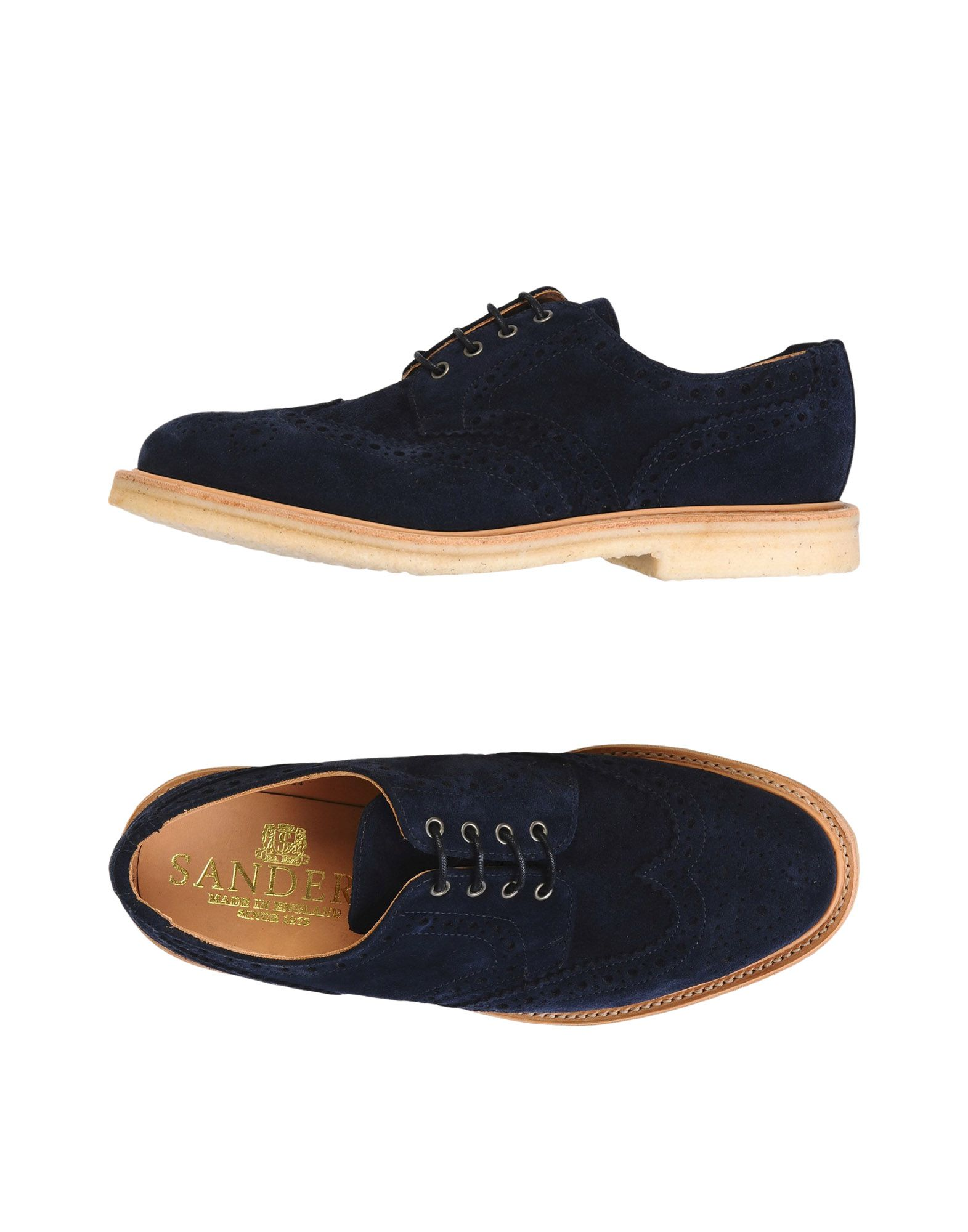 Stringate Sander's Olly -  Navy Suede Brogue Gibson, Rubber Sole - Uomo - 11458084OS