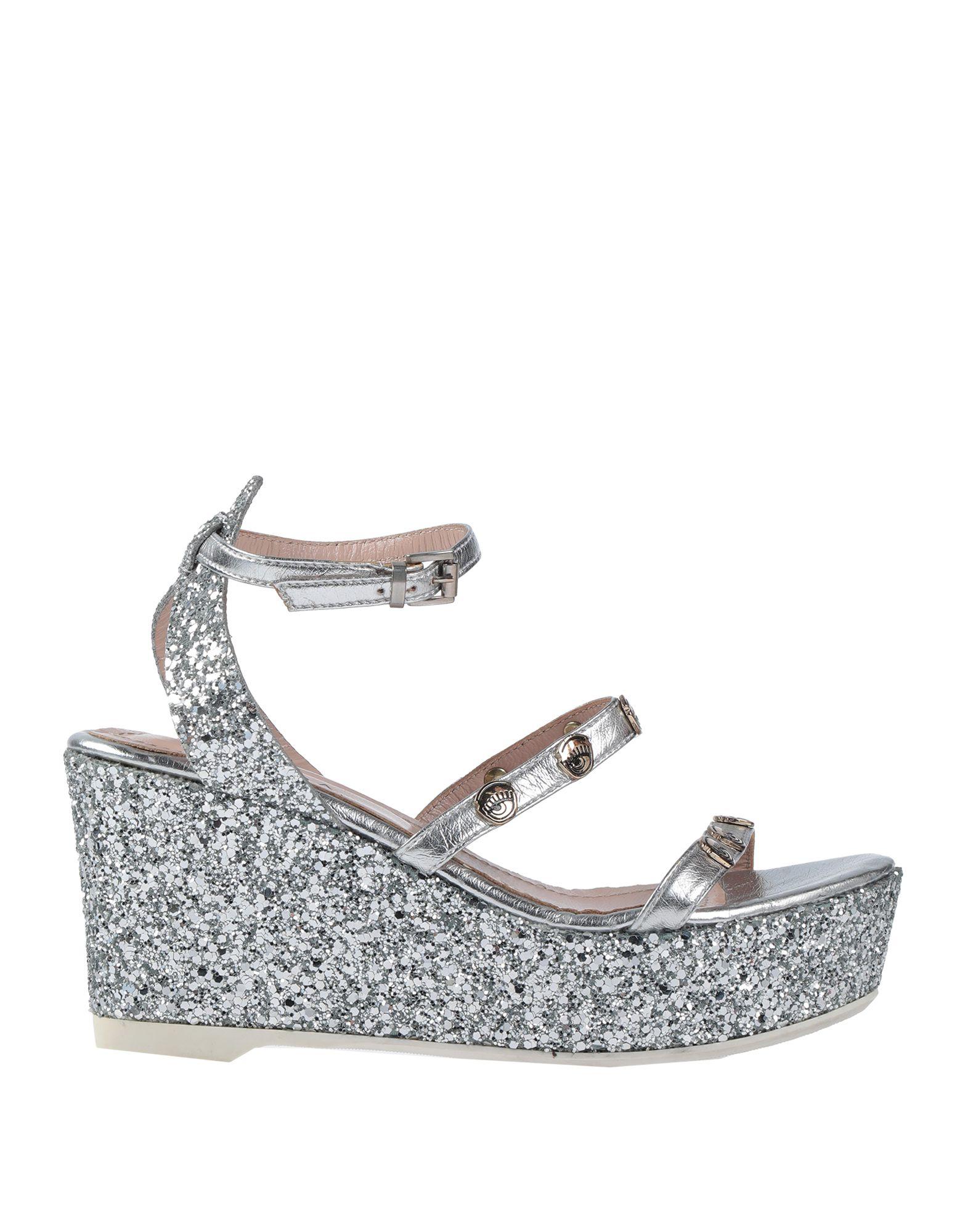 size UK 4 CHIARA FERRAGNI Women/'s Black Wedge Heels Platform Sandals
