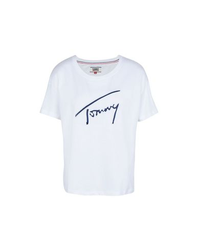 97fff6d1 Tommy Jeans Tjw Satin Detail Tee - T-Shirt - Women Tommy Jeans T ...