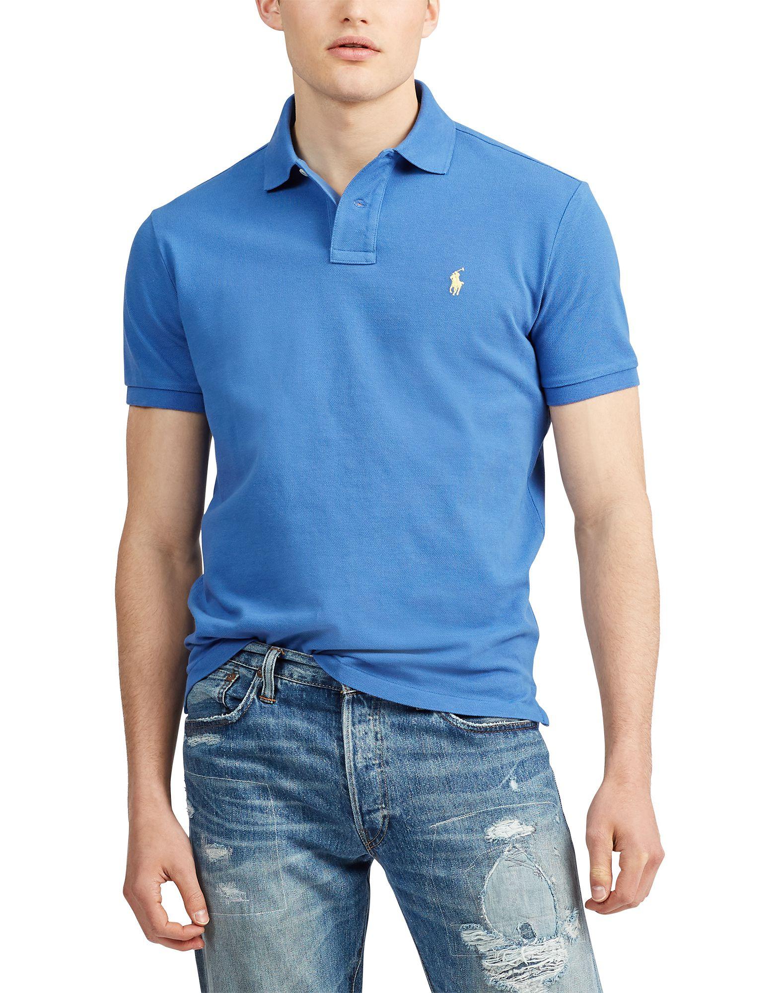 青色ポロシャツ画像