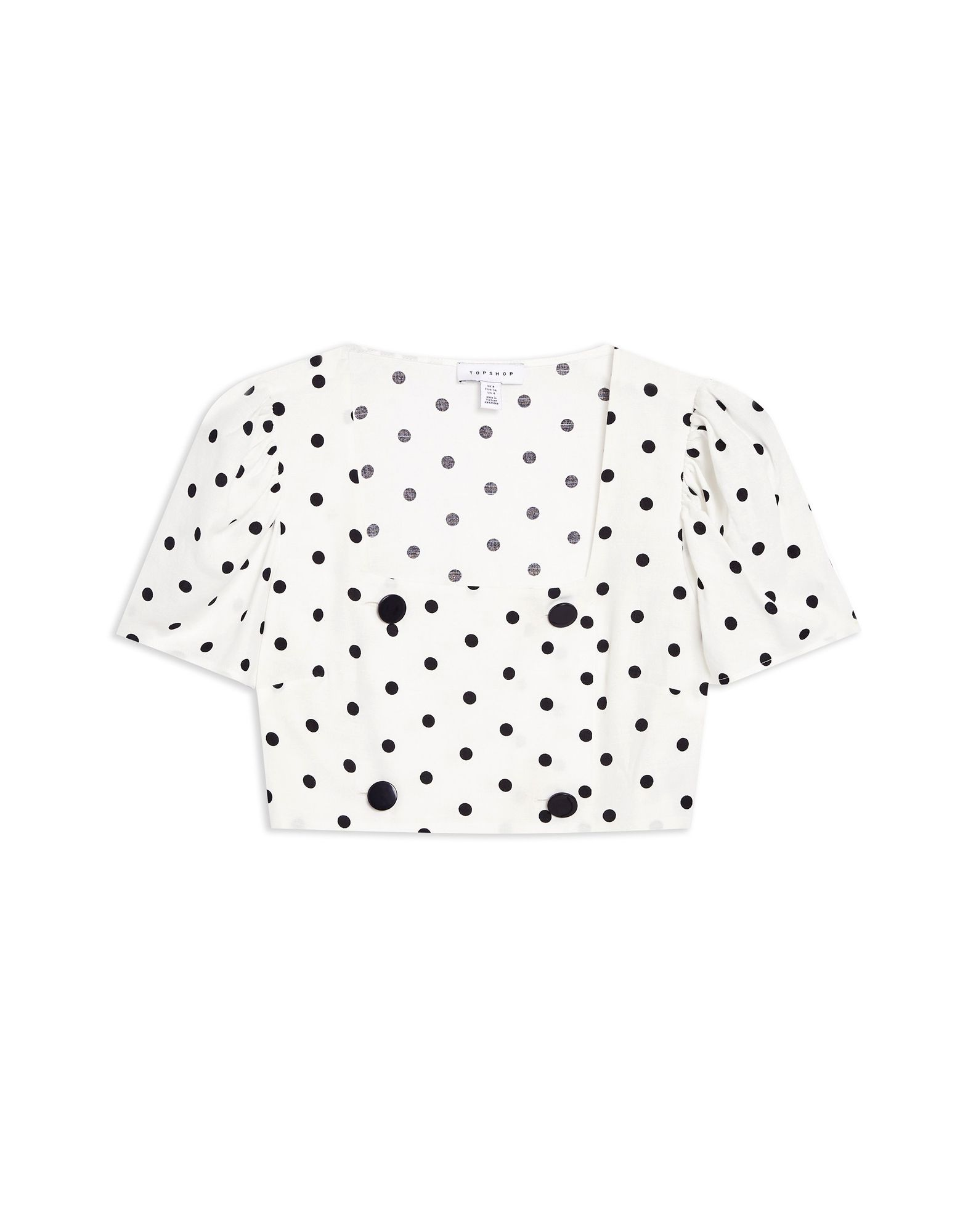 T-Shirt Topshop Spot Button Crop Top - damen - 12366936KQ