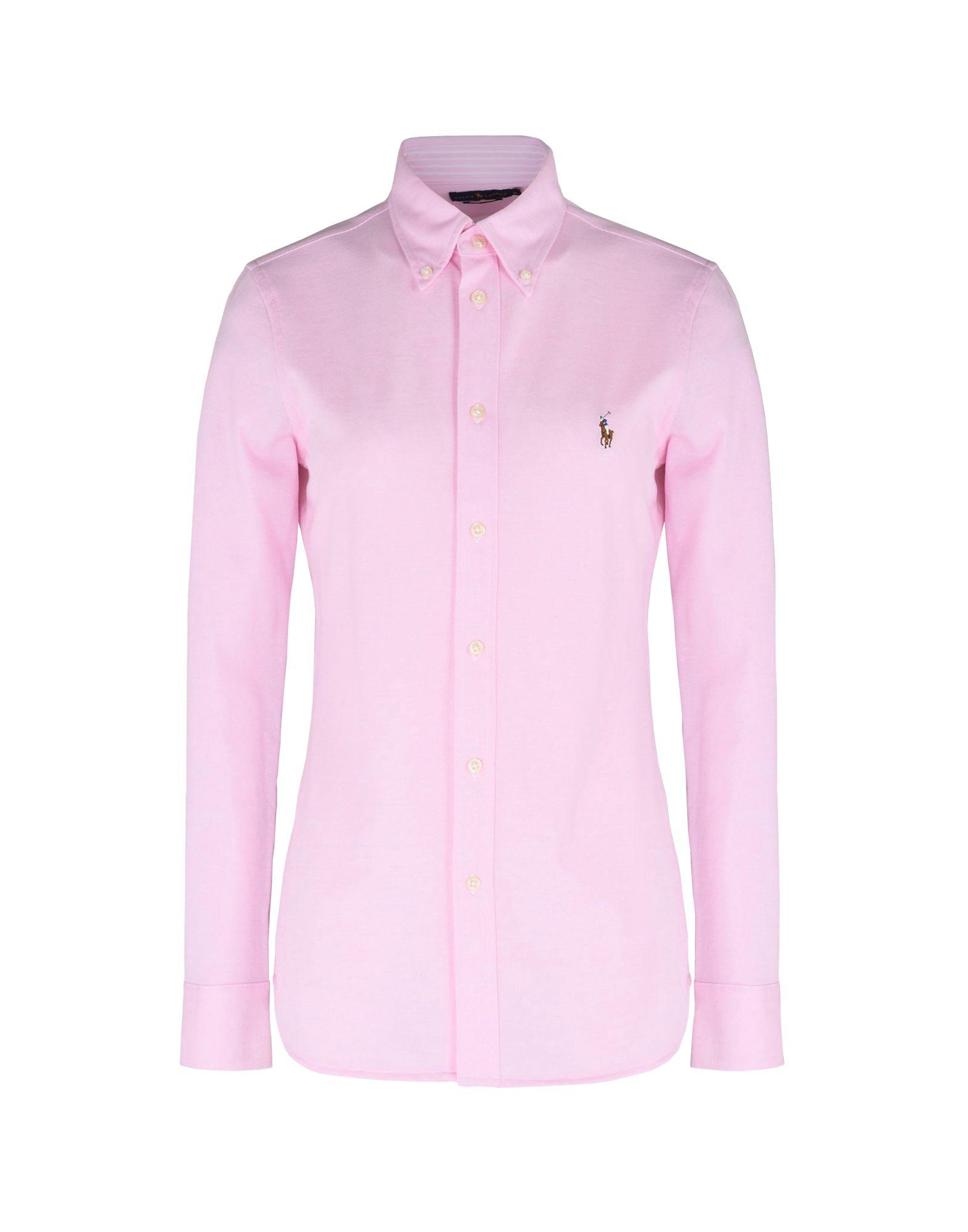 ab66304603336 Polo Ralph Lauren Slim Fit Knit Cotton Oxford Shirt - Solid Colour Shirts    Blouses - Women Polo Ralph Lauren Solid Colour Shirts   Blouses online on  YOOX ...