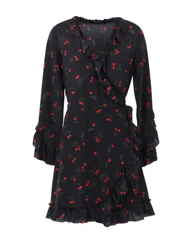 THE KOOPLES BLACK CHINA CREPE DRESS WITH LACE AND A CHERRY PRINT Minivestido