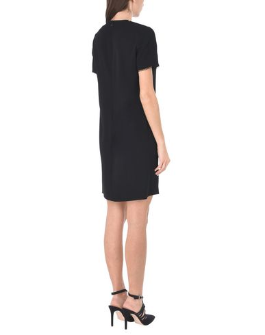 THE KOOPLES BLACK CREPE DRESS WITH FRONT DICKY Minivestido