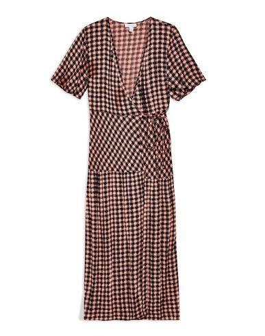 9da5b2d42ef9 Topshop Dixie Check Wrap Midi Dress - Long Dress - Women Topshop ...