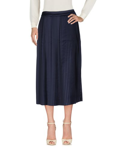 Woman Lucy Pleated Satin Midi Skirt Navy, Dark Blue
