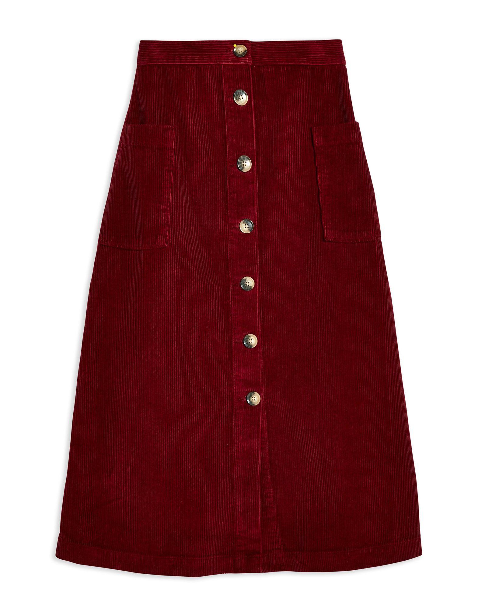 Gonna Longuette Topshop Corduroy Button Midi Skirt - donna donna donna - 35413047NS d7a