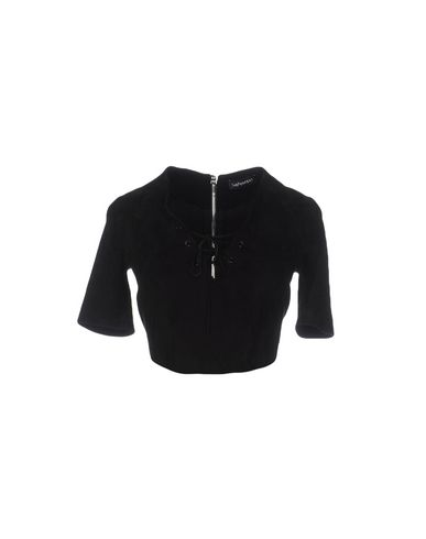 THEPERFEXT Solid Color Shirts & Blouses in Black