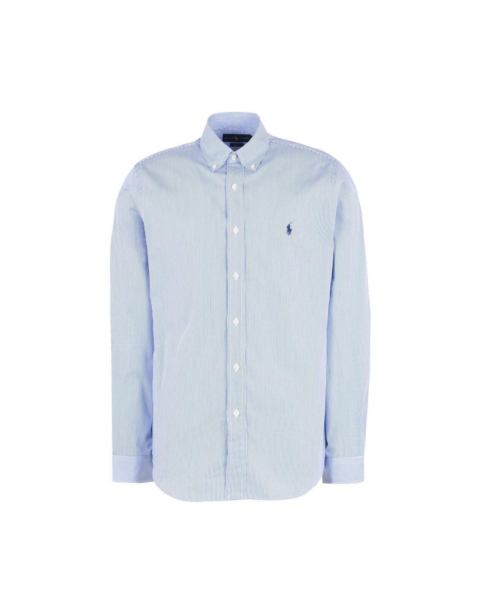 Camicia A Righe Polo Ralph Lauren Slim Fit Cotton Poplin Shirt - Uomo - Acquista online su