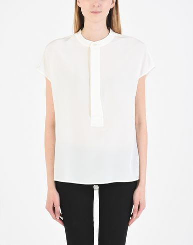 POLO RALPH LAUREN Band-Collar Silk Crepe Blouse Blusa