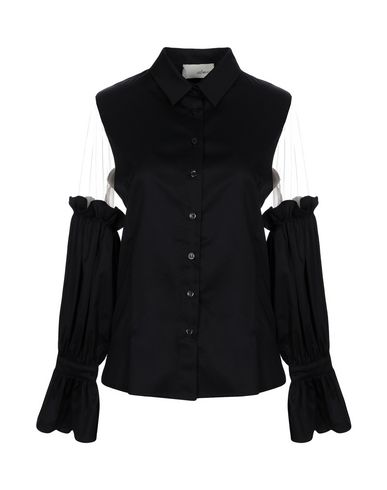 ELAIDI Solid Color Shirts & Blouses in Black