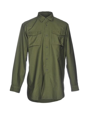 SOPHNET. Solid Color Shirt in Military Green