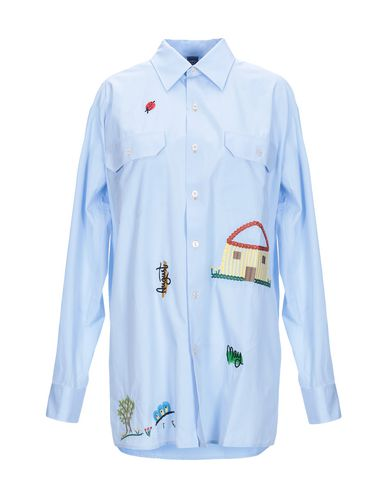 MPD BOX Solid Color Shirts & Blouses in Sky Blue
