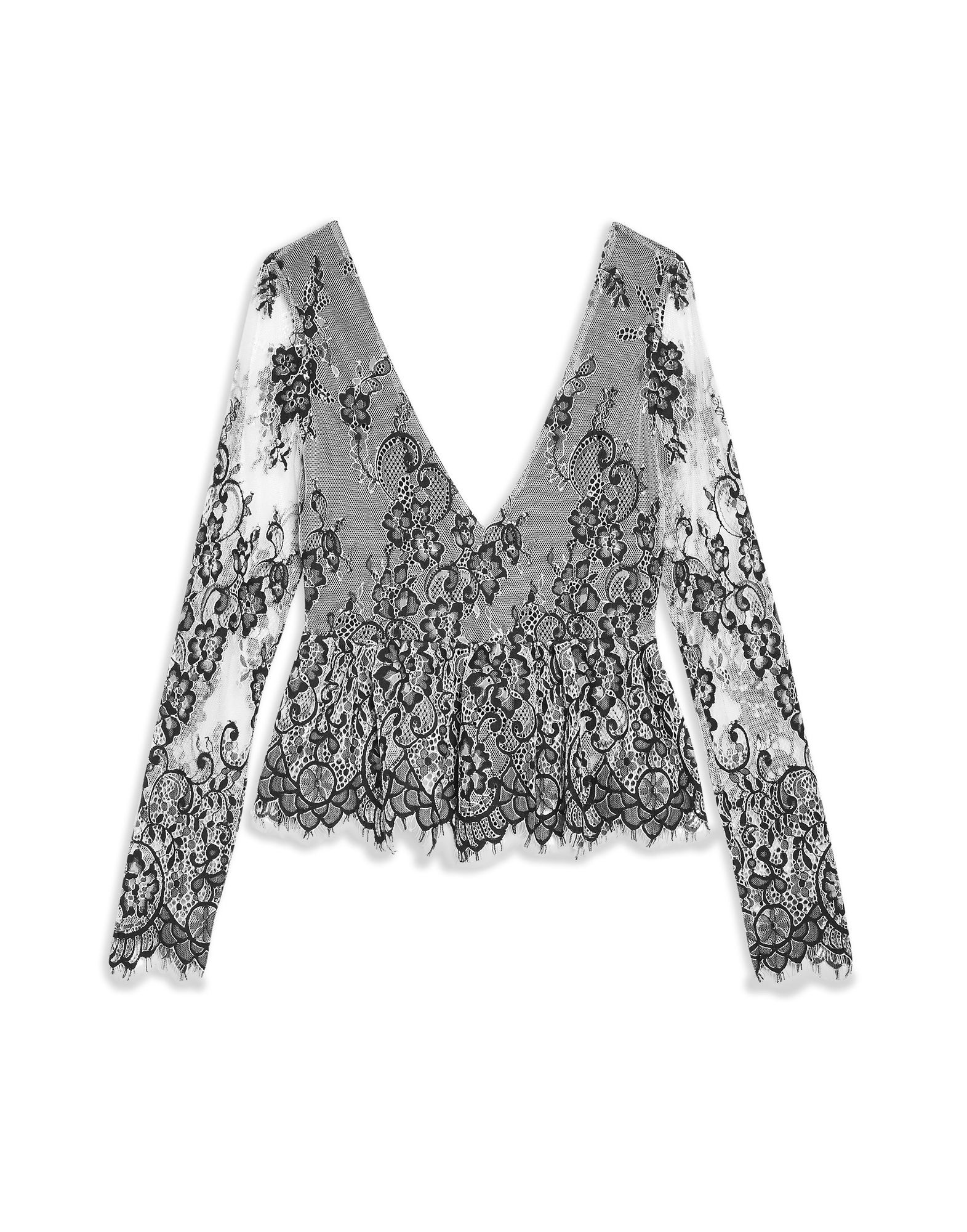 Blausa Topshop Tie Back Lace Peplum - damen - 38825474TB