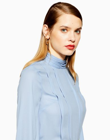 93c03a217bf8 outlet Topshop Pleated Button Blouse - Blouse - Women Topshop Blouses  online Women Clothing Shirts MO1O3vqy