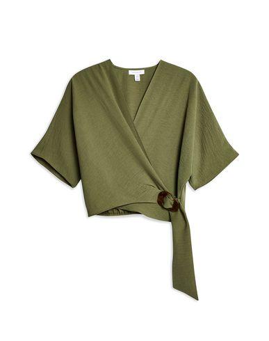 6505fc1c2b99 Topshop Buckle Wrap Crop Shirt - Blouse - Women Topshop Blouses ...