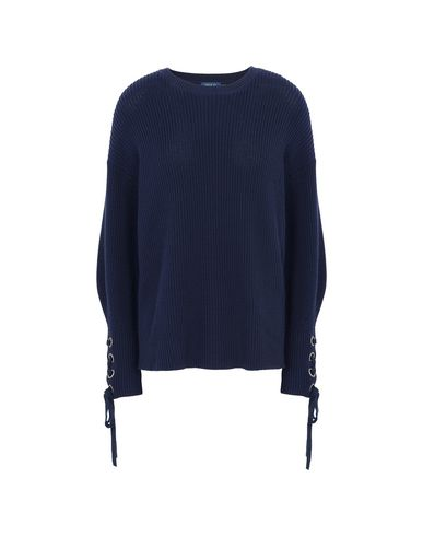 POLO RALPH LAUREN Cotton Lace Up Sweater	 Jersey