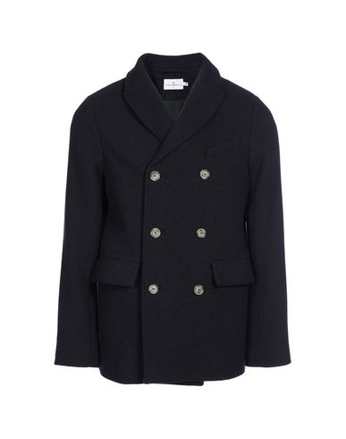 CUISSE DE GRENOUILLE Double Breasted Pea Coat in Blue