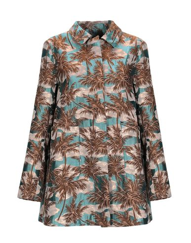 FEMME BY MICHELE ROSSI Full-Length Jacket in Turquoise
