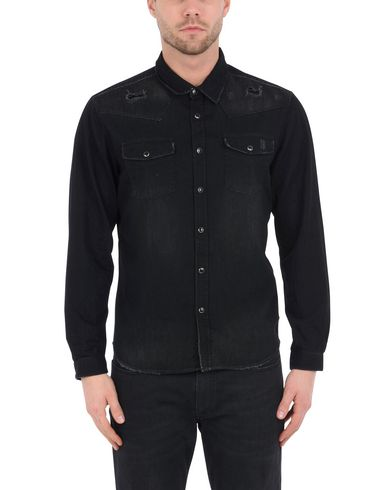 THE KOOPLES DENIM SHIRT WITH LEATHER INLAY Camisa vaquera