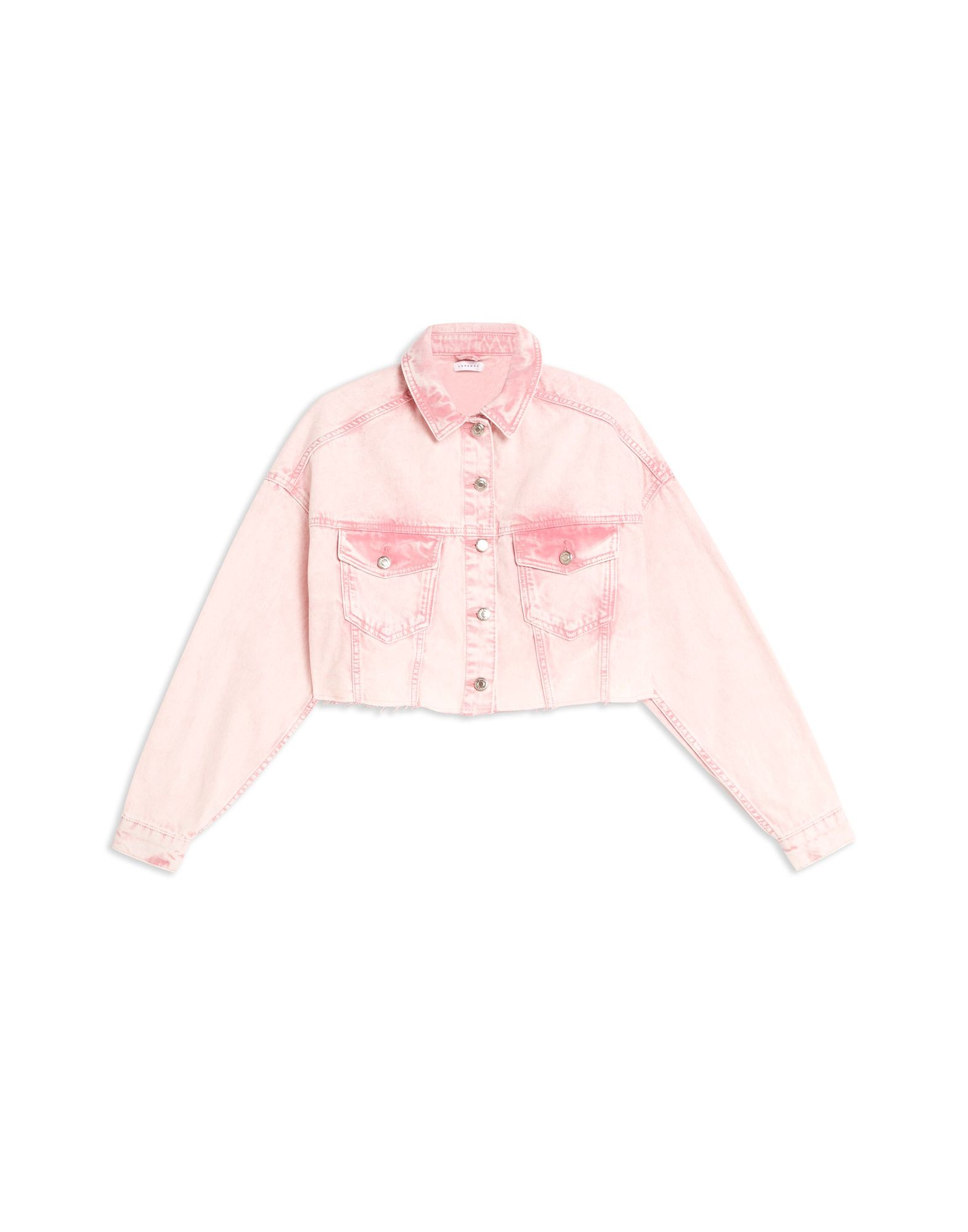 best price search for official fashion style Topshop Pink Acid Wash Hacked Denim Jacket - Denim Jacket ...