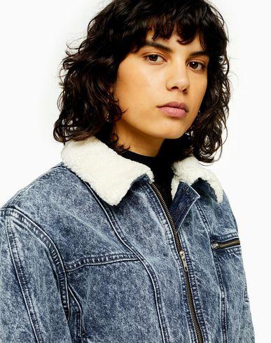 reliable quality premium selection outlet on sale Topshop Acid Wash Denim Borg Lined Jacket - Denim Jacket - Women ...