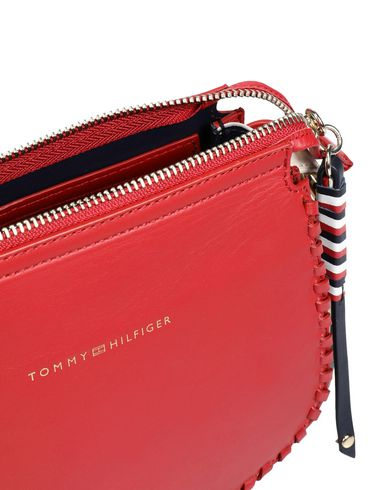 LEATHER CROSS Across Red bag body HILFIGER TOMMY STITCH 1qBpT