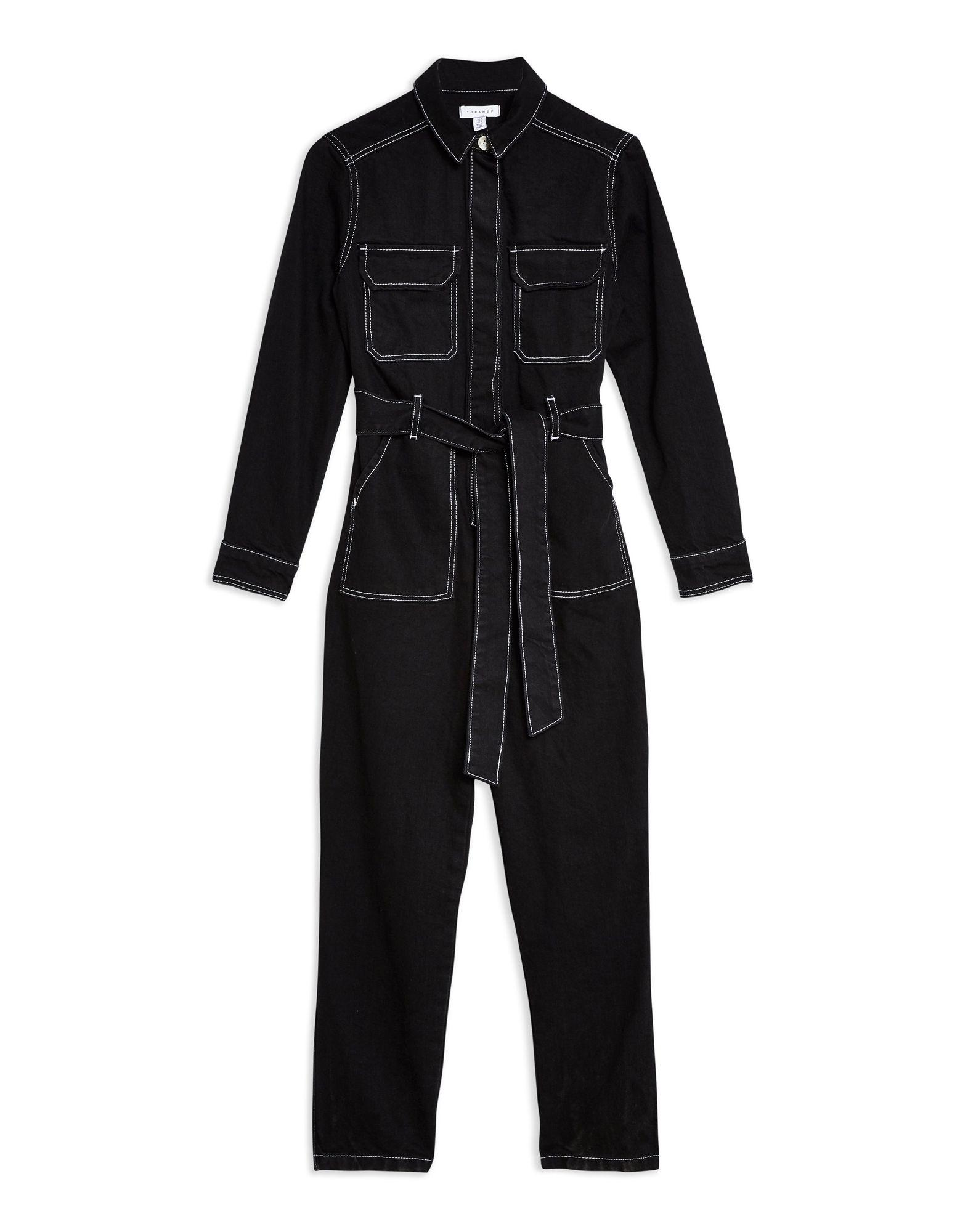 c59fbdf824e1 Topshop Black Denim Boiler Suit - Jumpsuit One Piece - Women Topshop ...